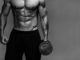 muscular bodybuilder guy close up monochrome