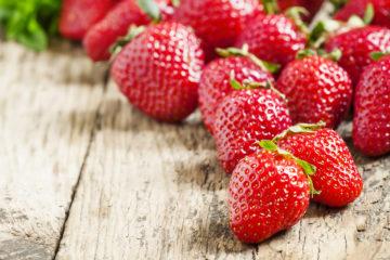 Fresh ripe strawberries, selective focus